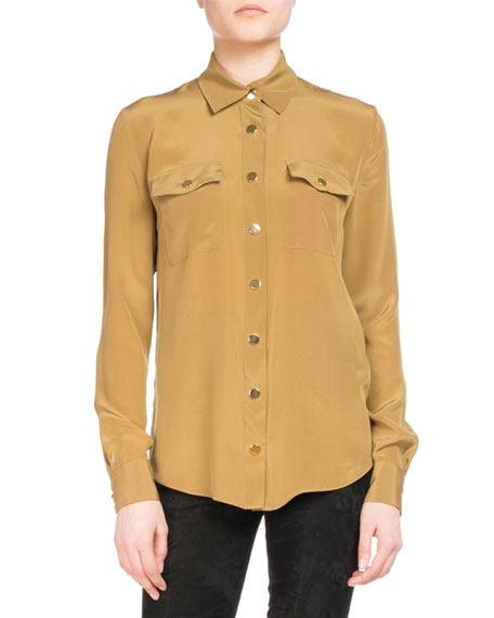 Silk Military Pocket Blouse