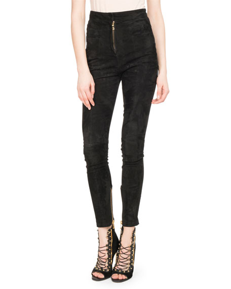 Balmain High-Waist Stretch-Suede Leggings