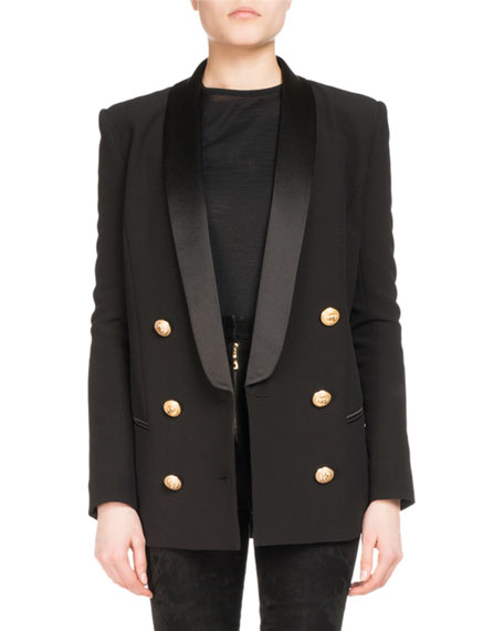 Double-Breasted Wool-Cashmere Tailored Pea Coat