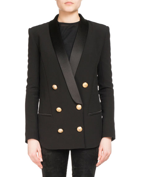 Balmain Double-Breasted Wool-Cashmere Tailored Pea Coat