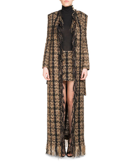 Tweed Floor-Length Belted Cardigan with Fringe