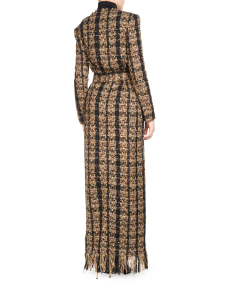 balmain tweed floor-length belted cardigan with fringe and