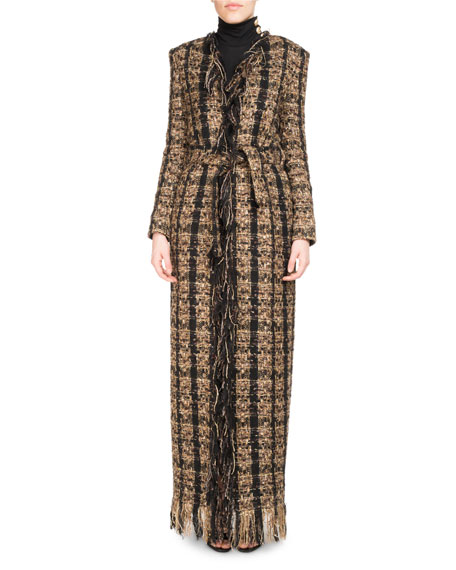 Balmain Tweed Floor-Length Belted Cardigan with Fringe