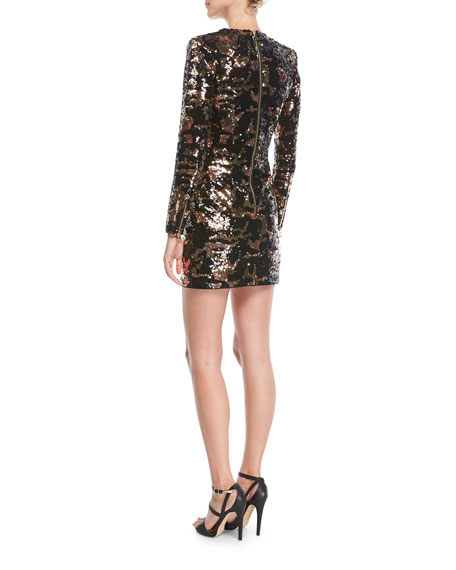 V-Neck Long-Sleeve Crocodile-Pattern Sequined Mini Dress