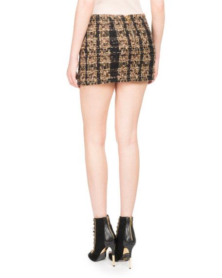 Tweed Zip-Pocket Miniskirt