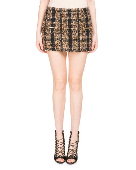 Balmain Tweed Zip-Pocket Miniskirt