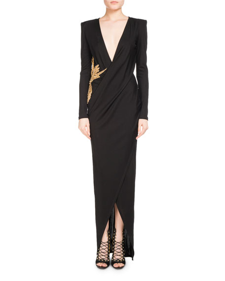 Balmain Bird-Embroidered Plunging-V Gown
