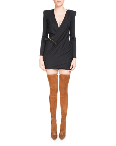 Balmain Plunging V Jersey Wrap Dress