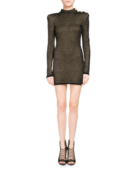 Balmain Metallic Mock-Neck Long-Sleeve Dress