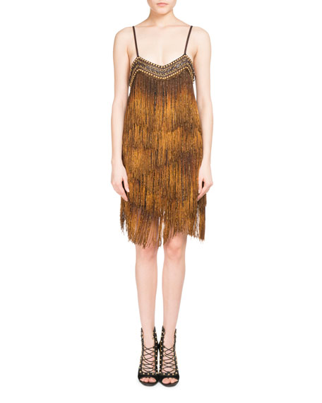 Balmain Metal Chain Fringe Flapper Dress