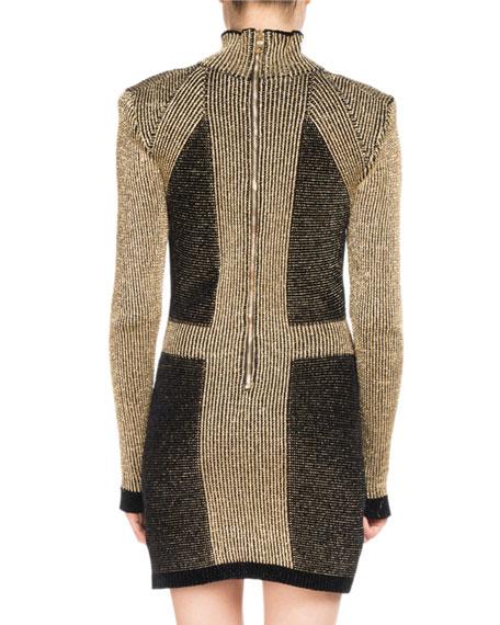 Metallic Knit Mock-Neck Minidress
