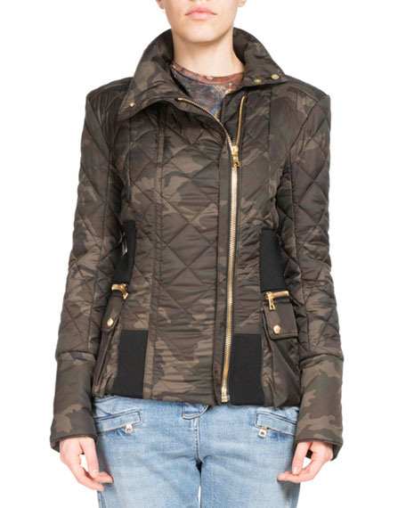 Quilted Camouflage Zip Jacket