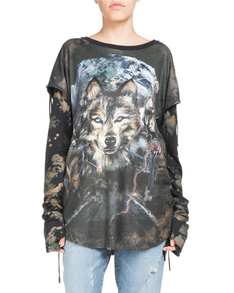Extended-Sleeve Wolf-Print T-Shirt