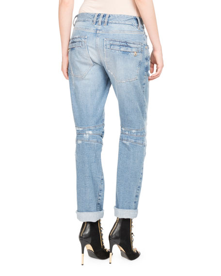 Distressed Boyfriend Biker Jeans