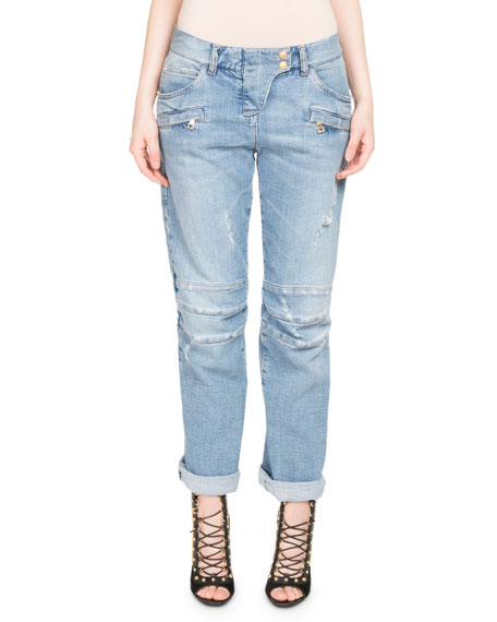 Balmain Distressed Boyfriend Biker Jeans and Matching Items
