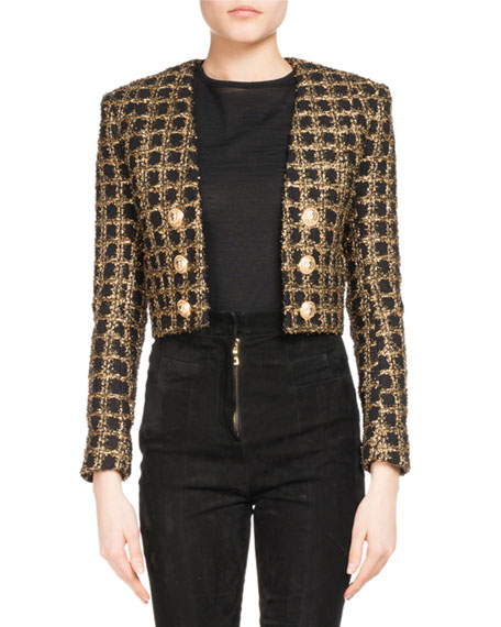 Balmain Cropped Tweed Open-Front Jacket
