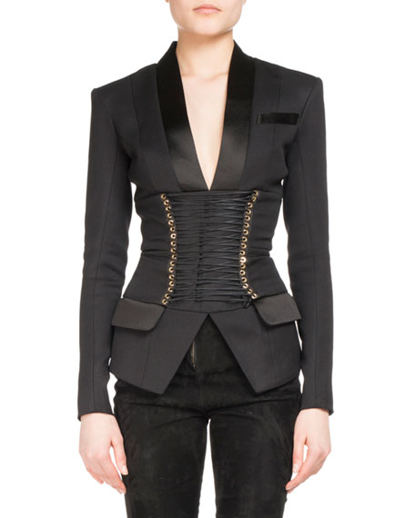 Corset-Belt Tuxedo Jacket