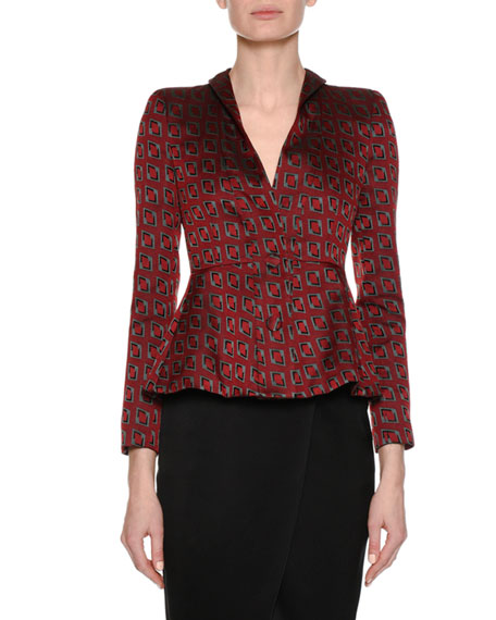 Graphic-Print Crepe de Chine Two-Button Blazer