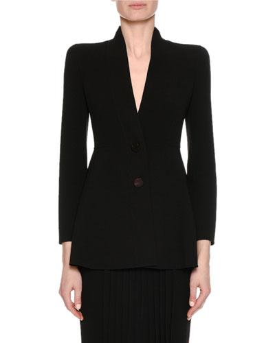 Virgin Wool Two-Button A-Line Blazer