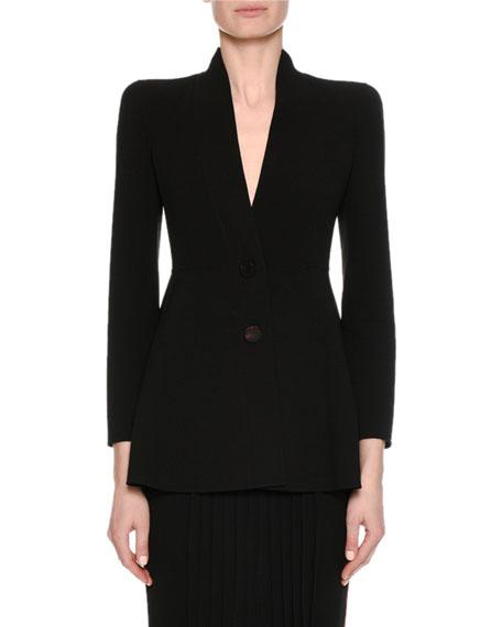 Giorgio Armani Virgin Wool Two-Button A-Line Blazer