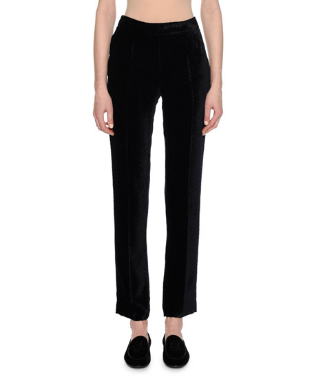 Giorgio Armani Fantasia Velvet Straight-Leg Pants and Matching