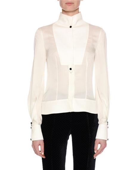 Silk Tuxedo Blouse