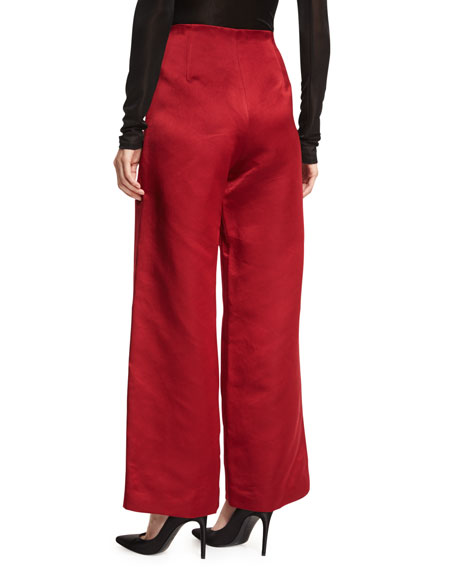 Strom Silk Satin Wide-Leg Pants