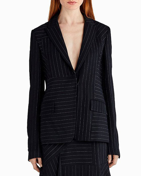 Pinstripe Stretch Crepe Jacket, Black/White
