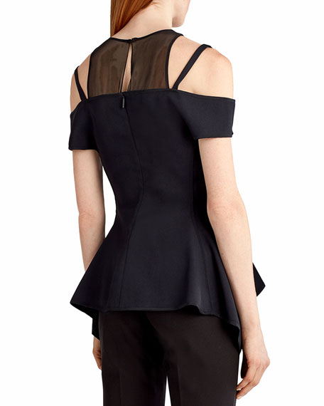 Cold-Shoulder Lace-Up Bustier Top, Black