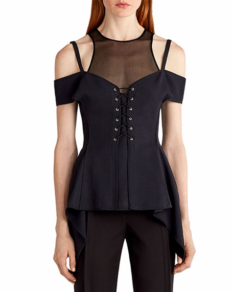 Jason Wu Cold-Shoulder Lace-Up Bustier Top, Black