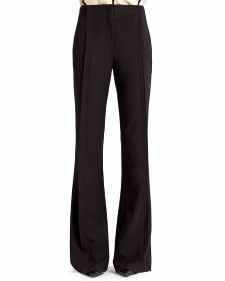 Jason Wu Soft Stretch Crepe Boot-Cut Pants, Black