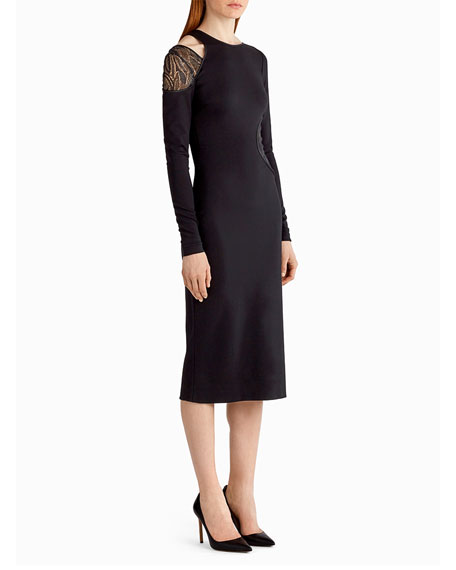 Lace-Inset Cutout Sheath Dress, Black