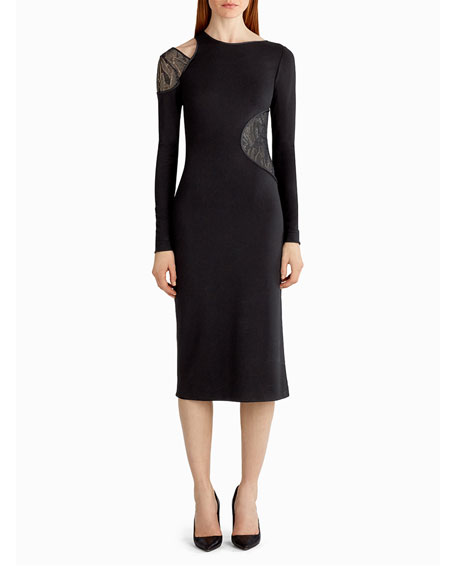 Jason Wu Lace-Inset Cutout Sheath Dress, Black