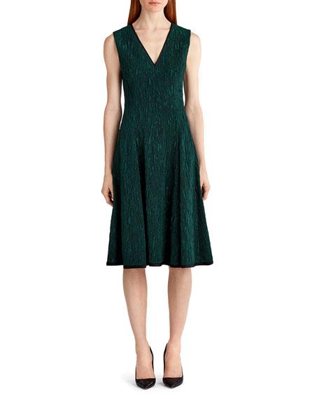 Sleeveless Cloque Jacquard Dress