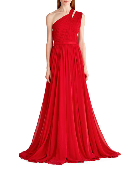 Jason Wu One-Shoulder Gathered Chiffon Gown