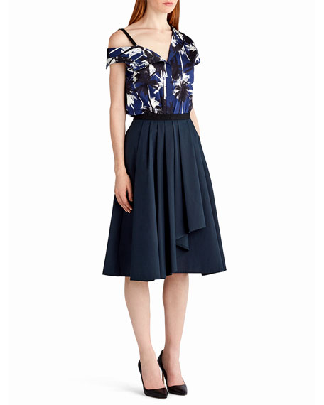 Pleated A-Line Drape-Front Skirt, Navy