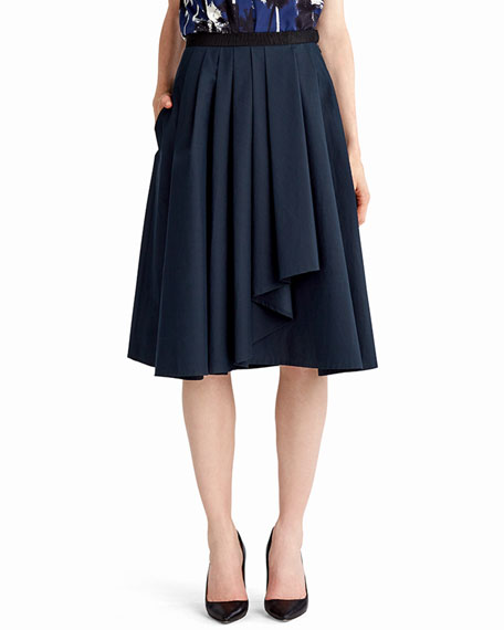 Jason Wu Pleated A-Line Drape-Front Skirt, Navy