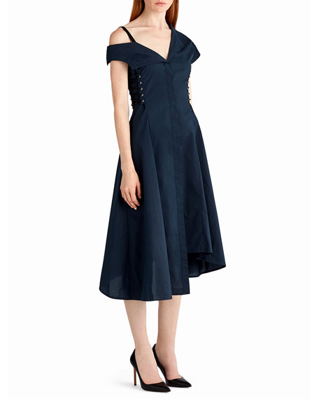 Cold-Shoulder Cotton Midi Dress with Lace-Up Sides