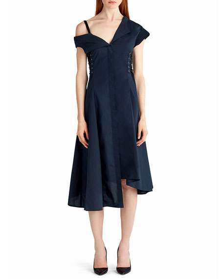 Jason Wu Cold-Shoulder Cotton Midi Dress with Lace-Up