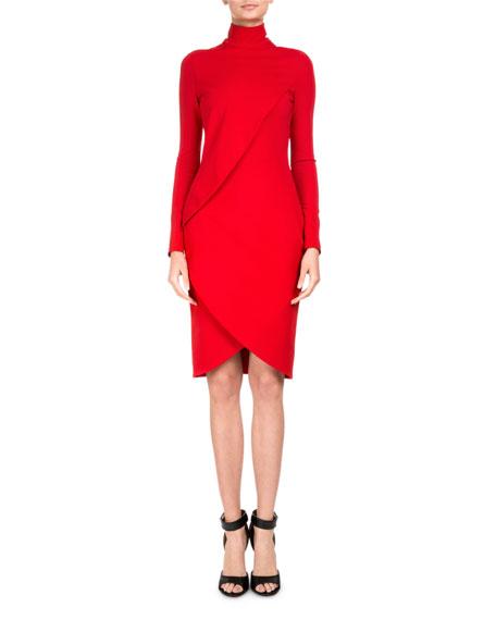 Givenchy Draped Long-Sleeve Mock-Neck Dress