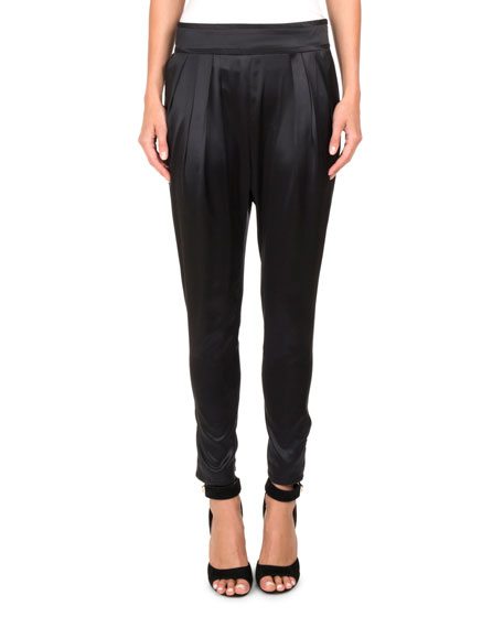 Givenchy Silk Satin High-Waist Tapered Pants and Matching