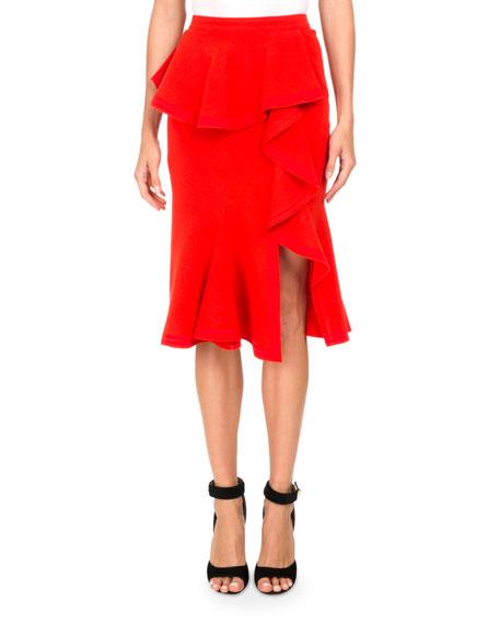 Ruffled Wool Pencil Skirt