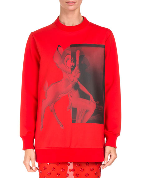 Givenchy Bambi® Long Crewneck Sweatshirt, Red