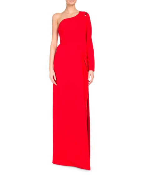 Givenchy One-Shoulder Cady Floor-Length Top