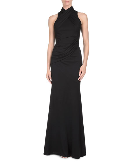 Draped High-Neck Gown with Back Detail