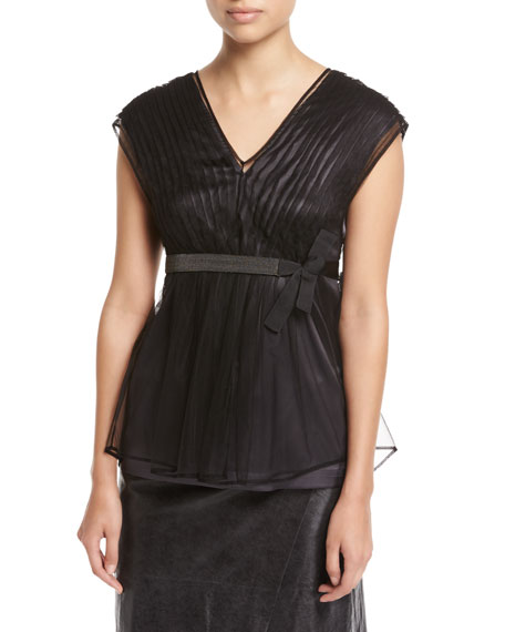 Pleated Tulle & Satin Top with Monili Belt