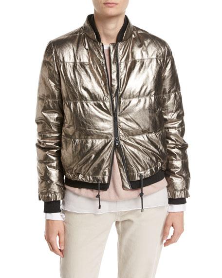 Metallic Leather Puffer Jacket