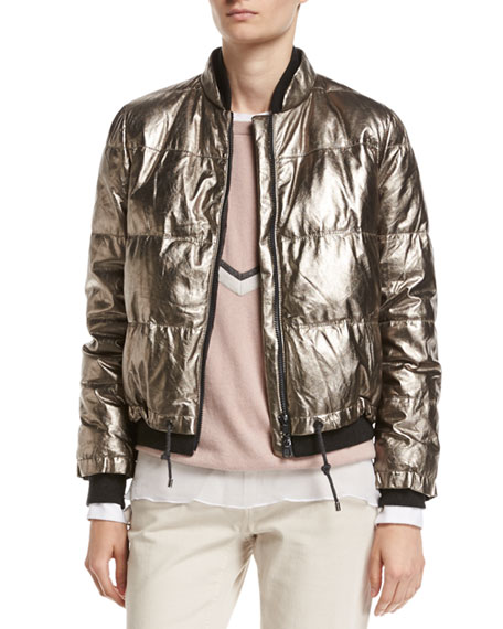 Brunello Cucinelli Metallic Leather Puffer Jacket and Matching