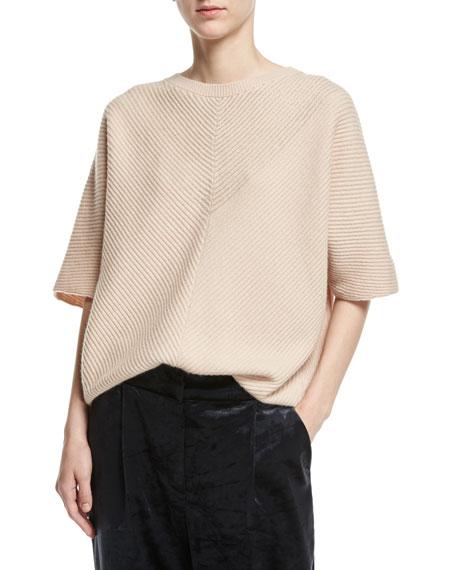 Brunello Cucinelli Cashmere Monili-Rib Short-Sleeve Pullover