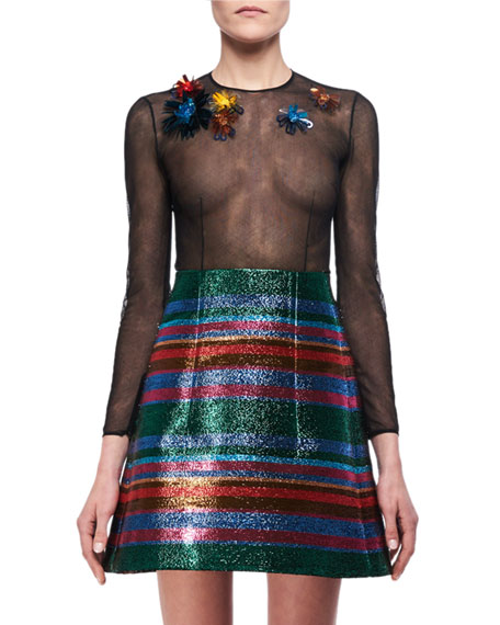 Delpozo Lurex Striped A-Line Miniskirt and Matching Items